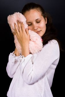Free Female With Plush Bear Stock Photos - 6591283