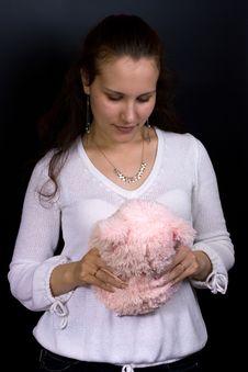 Free Female With Plush Toy Royalty Free Stock Image - 6591286