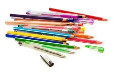 Color Pencils And Pens Stock Photography