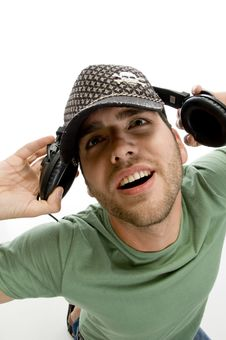 Free Male Holding Headphone Royalty Free Stock Photo - 6592705