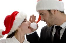Free Happy Couple With Red Santa Cap Royalty Free Stock Photography - 6592757