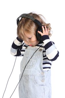 Free Beauty A Little Girl Listening Music Stock Photos - 6593753