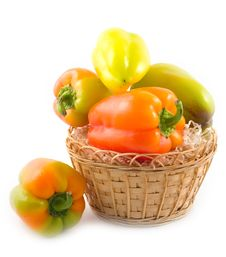 Pepper In Basket Stock Images