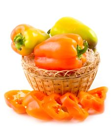 Red Sweet Beautiful Pepper In Basket Stock Image
