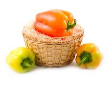 Sweet Beautiful Pepper In Basket Stock Image