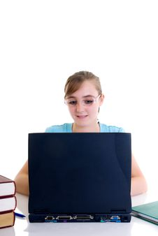 Free Teenager Girl On Desk Stock Photo - 6594930
