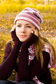 Thoughtful Girl In The Park Stock Photos