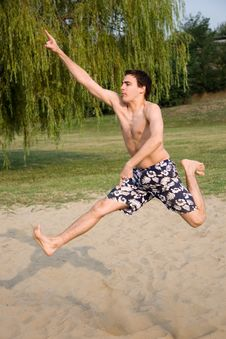 Free Young Adult On The  Jumping Stock Image - 6597921