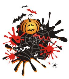 Halloween Background With Pumpkin, Blots Royalty Free Stock Photos