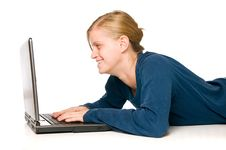 Free Cute Girl On Laptop Stock Photography - 6599212
