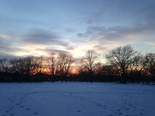 Sunset In A Park In Snow In Winter. Stock Photography