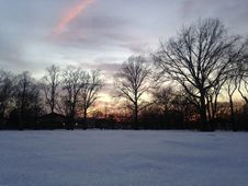Free Sunset In A Park In Snow In Winter. Stock Image - 65956201