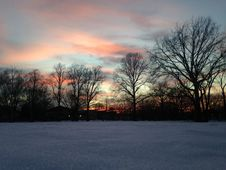 Sunset In A Park In Snow In Winter. Stock Image