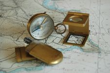 Free Old Objects On A Map ! Royalty Free Stock Images - 662199