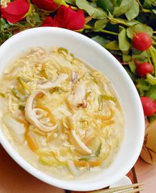 Asia, China, Food, Culture, Soup, Japanese Noodles, Indoors, Cool, Bowl, White, Rose, Close-up, Vege Royalty Free Stock Photos