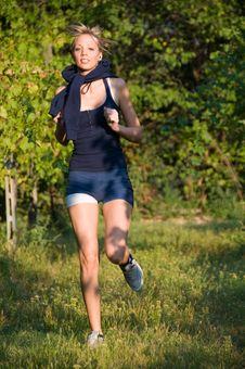 Free Girl Jogging Among Beautiful Vineyards Stock Photos - 6600593