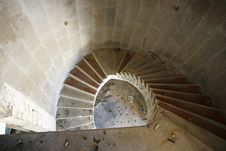 Spiral Staircase In An Abandoned Hotel Royalty Free Stock Images