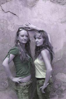 Free Girls Near Stones Wall Stock Photos - 6601273