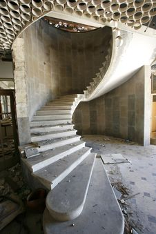Spiral Staircase In An Abandoned Hotel Stock Images