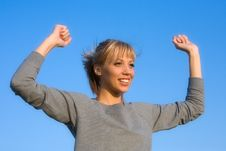 Free Young Woman Spreading Arms To  Blue Sky Stock Images - 6601314