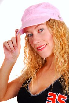Free Young Woman Trying On Pink Sports Hat Royalty Free Stock Photography - 6602517