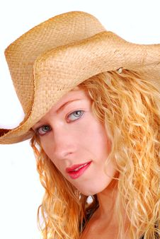 Free Young Woman Wearing A Straw Hat Stock Images - 6602534