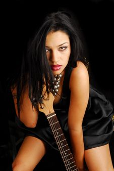 Free Female Rocker With Guitar Stock Image - 6602541