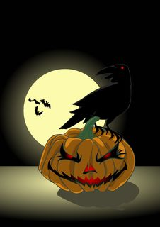 Pumpkin And Crow Under The Moonlight Stock Images