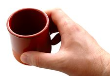 Free Pottery Cup In Man S Hand. Royalty Free Stock Photo - 6604515