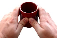 Free Pottery Cup In Man S Hands. Stock Photo - 6604520
