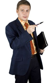 Free Businessman Pointing Pen Stock Image - 6606271