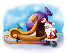 Santa Claus Having A Rest Near His Sledge Stock Image