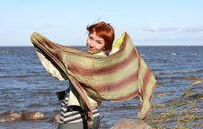 Free Red Haired Woman With Scarf. Stock Image - 6609701