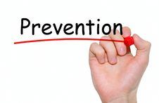 Hand Writing Prevention With Red Marker On Transparent Wipe Board Stock Images