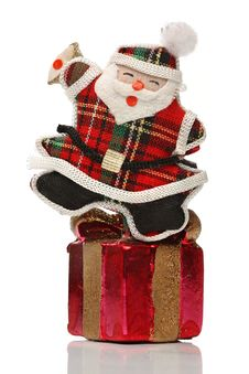 Free Happy Santa Over A Gift Box Stock Photography - 6610532