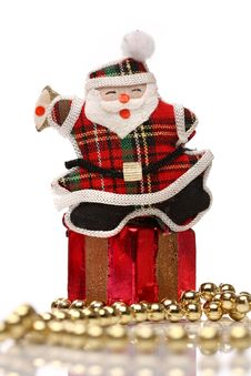 Happy Santa Over A Gift Box Royalty Free Stock Photography