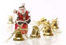 Free Santa Over Gift Box With Christmas Bells Royalty Free Stock Photos - 6610668