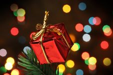 Gift Box Over A Christmas Branch Tree Stock Image