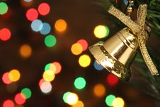 Free Christmas Bell Hanging On A Branch Tree Stock Photography - 6611452