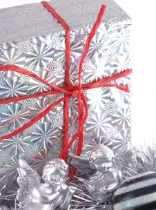 Christmas Present With Decorations. Stock Image