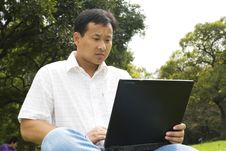 Free Man Using A Laptop Outdoors Royalty Free Stock Image - 6611806
