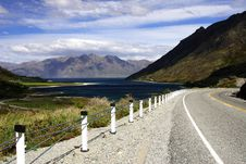 Scenic Highway By Lake Hawea Stock Photos