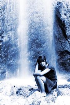 Free Wet Woman Under Waterfall Stock Image - 6612651
