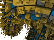 Blue And Yellow And Gray Futuristic Construction Stock Photos
