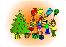 Children Discovering Gifts Under Tree Royalty Free Stock Photography