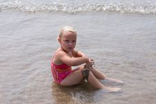 Free Girl Playing At The Beach Stock Photos - 6615353