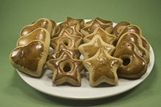 Plate Of Christmas Cookies Stock Images