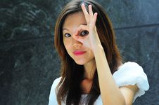 Asian Girl Hand Gesture - 3 Stock Images