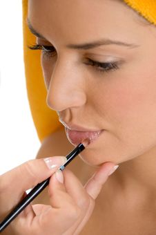 Free Beautician Putting Lipstick On Woman S Lips Stock Images - 6617914