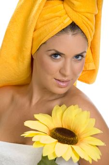 Free Posing Smiling Sexy Female In Towel With Sunflower Stock Image - 6617971